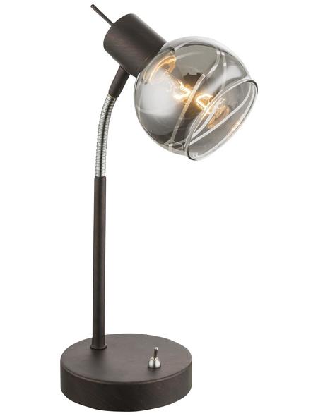 GLOBO LIGHTING Tischleuchte bronzefarben mit 4 W, H: 34 cm, E14 inkl. Leuchtmittel in Warmweiß