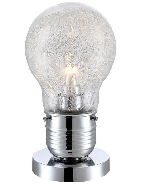 GLOBO LIGHTING Tischleuchte chromfarben/klar mit 8 W, H: 28 cm, E27 inkl. Leuchtmittel in Warmweiß