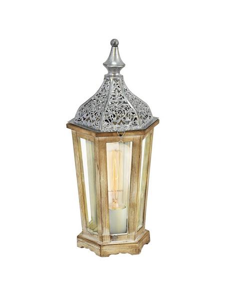 EGLO Tischleuchte »KINGHORN« silberfarben/braun mit 60 W, H: 40,5 cm, E27 ohne Leuchtmittel