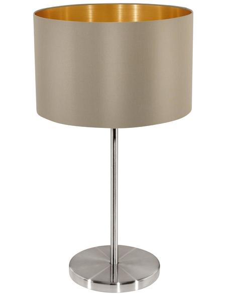 EGLO Tischleuchte »MASERLO« nickelfarben/goldfarben/taupe mit 60 W, H: 42 cm, E27 ohne Leuchtmittel