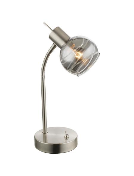 GLOBO LIGHTING Tischleuchte nickelfarben mit 4 W, H: 34 cm, E14 inkl. Leuchtmittel