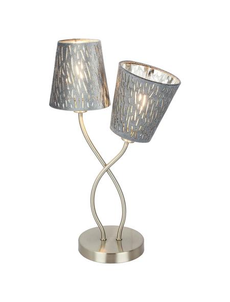 GLOBO LIGHTING Tischleuchte »TAROK« nickelfarben mit 25 W, 2-flammig, H: 45 cm, E14 ohne Leuchtmittel