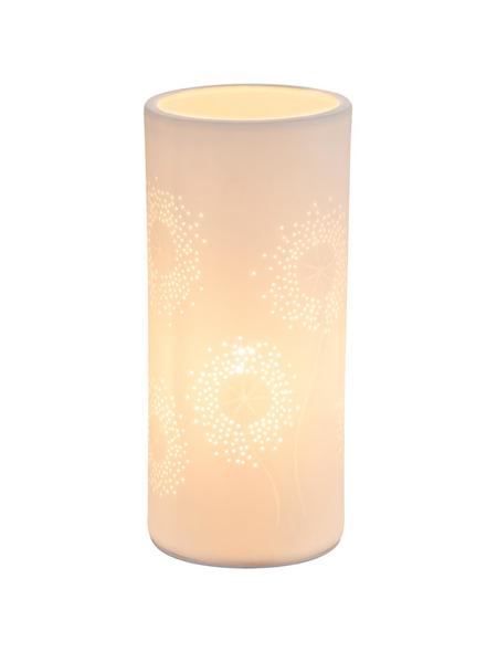 GLOBO LIGHTING Tischleuchte Weiß mit 25 W, H: 24 cm, E14 ohne Leuchtmittel