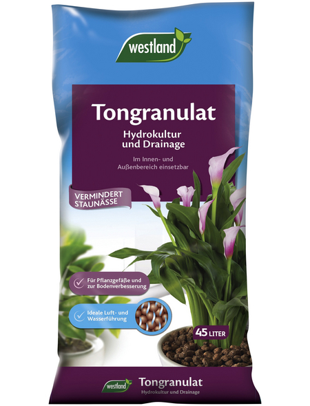 WESTLAND Tongranulat, Blähton, Drainage, Hydro, Braun, 45 l