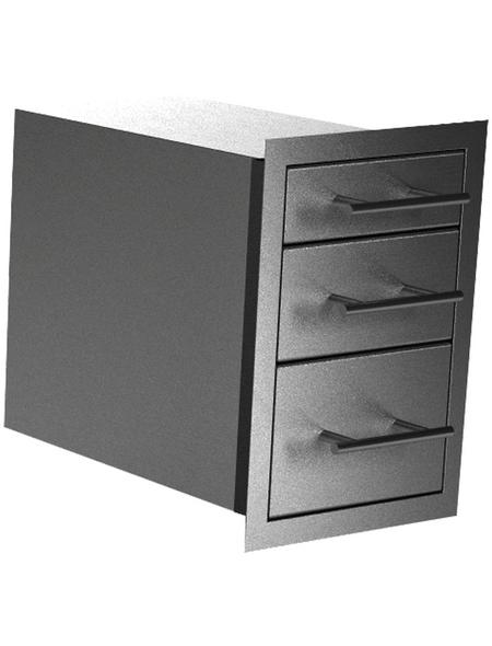 MR. GARDENER Triple drawer, BxHxT: 37,9 x 54 x 58 cm, EdelStahl