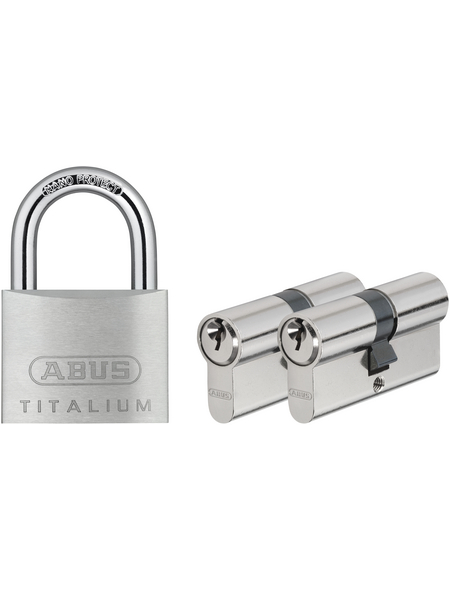 ABUS Türzylinder, aus Metall, 95 mm Breite, silberfarben