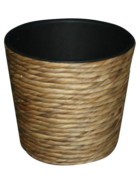 Übertopf, 30 x 26 cm , Kunststoff/Wasserhyazinthe, natur