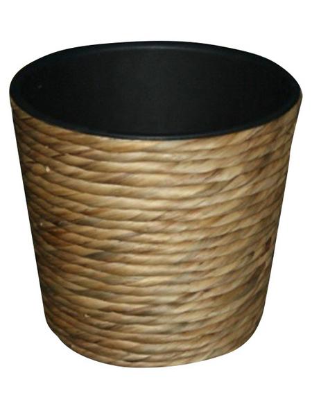 Übertopf, 40 x 32 cm , Kunststoff/Wasserhyazinthe, natur