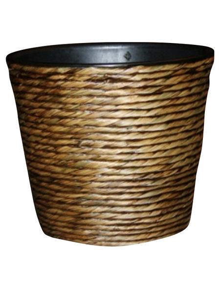 Übertopf, 40 x 32 cm , Kunststoff/Wasserhyazinthe, waschbraun