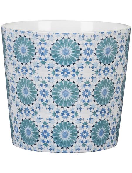 SCHEURICH Übertopf »MOSAIC«, Breite: 10,6 cm, weiß/blau/türkis, Keramik