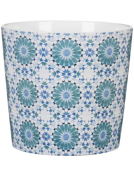 SCHEURICH Übertopf »MOSAIC«, ØxH: 10,6 x 9,3 cm, weiß/blau/türkis, Keramik