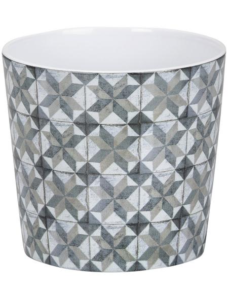 SCHEURICH Übertopf »MOSAIC«, ØxH: 21 x 18,2 cm, weiß/beige/taupe/grau, Keramik