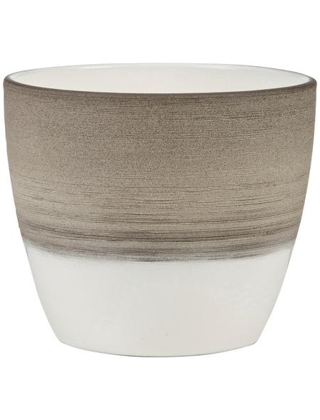 SCHEURICH Übertopf, ØxH: 11 x 9,5 cm, taupe/creme/beige, Keramik