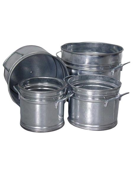 A.H.G. Übertopf, Zink, silber-Metallic, rund