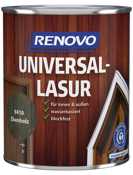 RENOVO Universallasur, für innen & außen, 0,75 l, Ebenholz, seidenglänzend