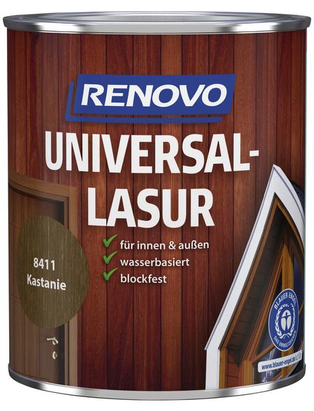 RENOVO Universallasur, für innen & außen, 0,75 l, Kastanie, seidenglänzend