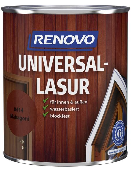 RENOVO Universallasur, für innen & außen, 0,75 l, Mahagoni, seidenglänzend