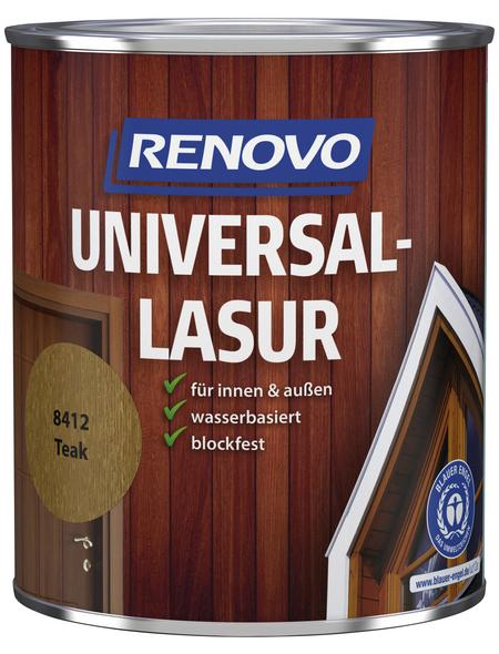 RENOVO Universallasur, für innen & außen, 0,75 l, Teak, seidenglänzend