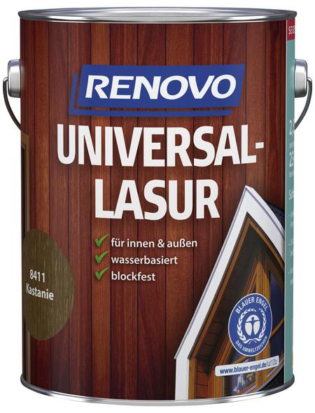 RENOVO Universallasur, für innen & außen, 2,5 l, Kastanie, seidenglänzend