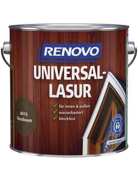 RENOVO Universallasur, für innen & außen, 4 l, Nussbaum, seidenglänzend