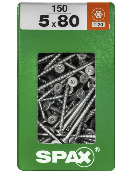 SPAX Universalschraube, 5 mm, Stahl, 150 Stk., TRX 5x80 XXL