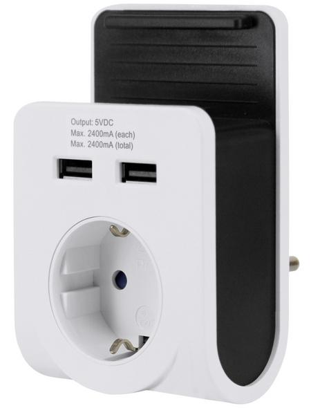 GO/ON! USB-Steckdosenadapter, 1-fach, ohne Kabel