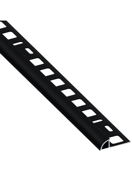 alfer® aluminium Viertelkreisprofil, BxHxL: 19,5 x 10 x 2500 mm, schwarz