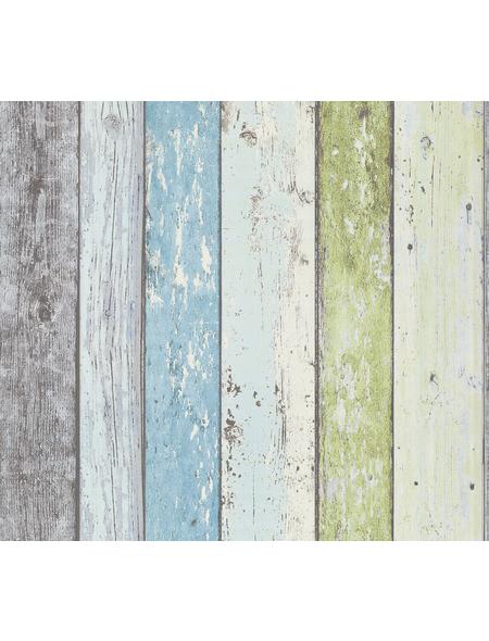 Vliestapete »Best of Wood´n Stone«, grün/blau, strukturiert, für Feuchträume geeignet
