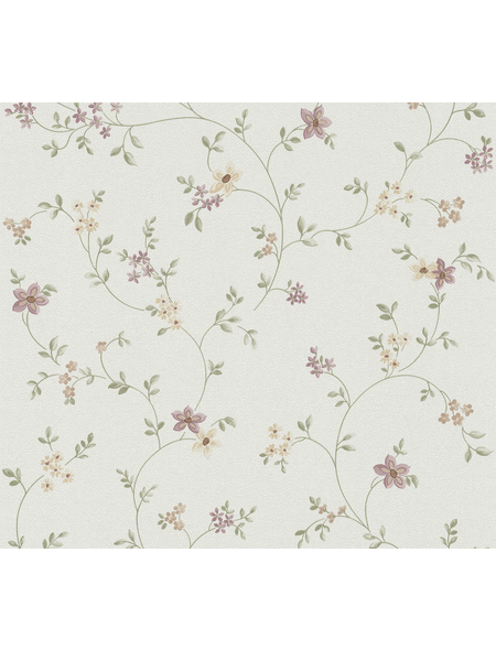 Vliestapete »Fleuri Pastel «, violett/grün/creme, glatt, für Feuchträume geeignet