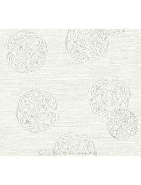 Vliestapete »Happy Spring «, weiß/grau, strukturiert, für Feuchträume geeignet