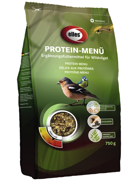 ELLES Vogelfutter »Protein-Menü«, Beeren / Haferflocken, 4x750 g