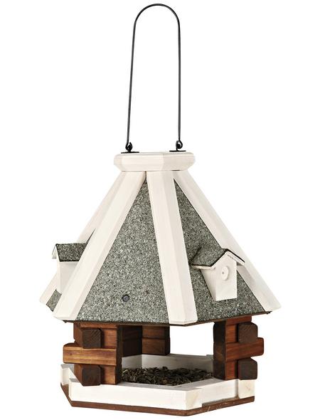 Vogelfutterhaus, BxHxT: 36 x 35 x 36 cm, weiss/braun