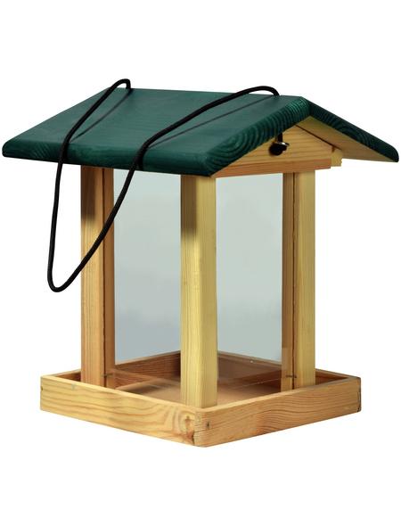 DOBAR Vogelfutterhaus, für Vögel, Kiefernholz/Kunststoff, natur/grün