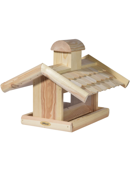 DOBAR Vogelfutterhaus, für Vögel, Kiefernholz/Kunststoff, natur/Holzfarben
