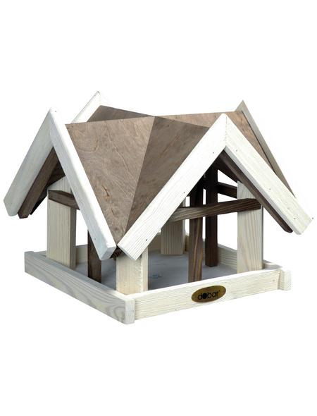 DOBAR Vogelfutterhaus, für Vögel, Kiefernholz, weiß/braun