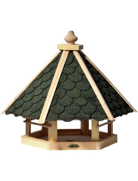 DOBAR Vogelfutterhaus, für Wildvögel, Kiefernholz/Bitumen, natur/grün