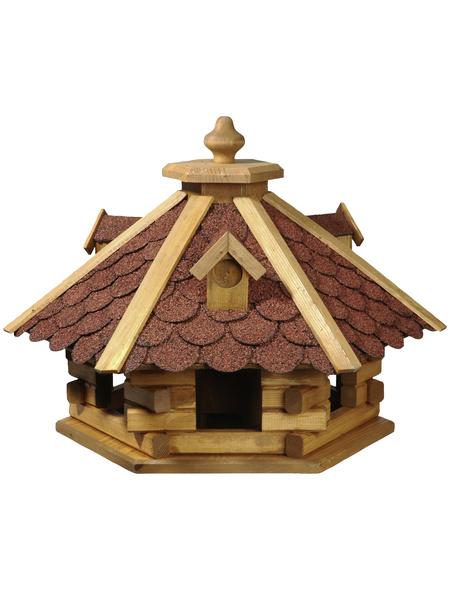 DOBAR Vogelfutterhaus, für Wildvögel, Kiefernholz/Bitumen, rot/braun/dunkelbraun