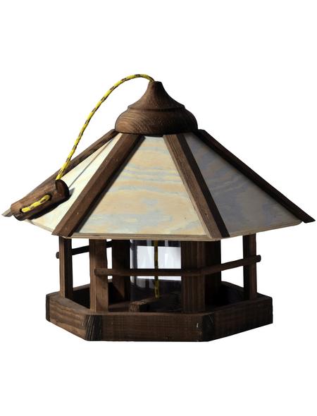 DOBAR Vogelfutterhaus, für Wildvögel, Kiefernholz/Kunststoff, braun