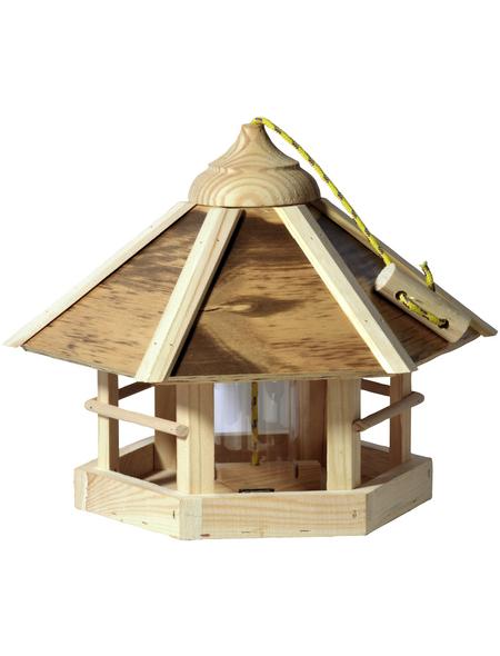 DOBAR Vogelfutterhaus, für Wildvögel, Kiefernholz/Kunststoff, natur/Holzfarben