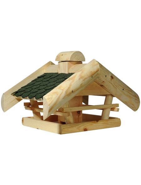 DOBAR Vogelhaus mit Futtersilo und Satteldach