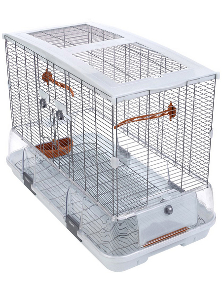 Vogelkäfig, BxHxT: 74,9 x 54,6 x 38,1 cm, weiss/orange