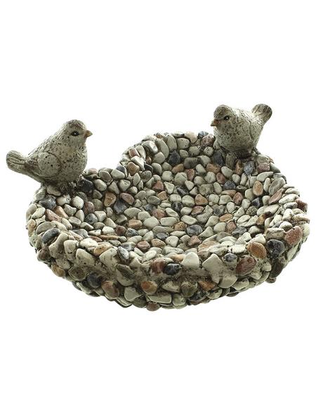 Vogeltränke, Polyresin, grau