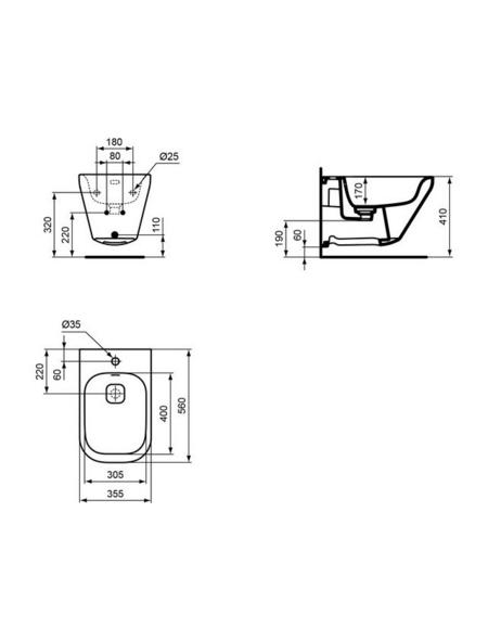 IDEAL STANDARD Wand-Bidet »Tonic II«, weiß, BxHxT: 35.5 x 35 x 56 cm