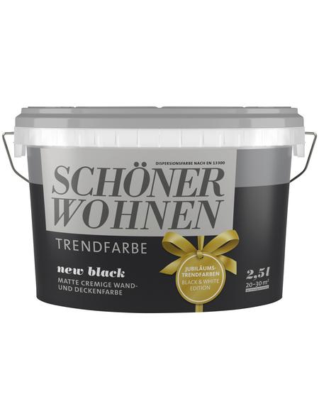 SCHÖNER WOHNEN Wand- und Deckenfarbe »Trendfarbe, new black«, Schwarz, matt