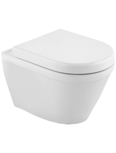 CORNAT Wand-WC-Komplettset »Trient«, Tiefspüler, weiss/verchromt, spülrandlos
