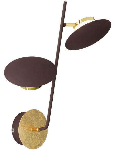 wofi® Wandleuchte braun/goldfarben 4,5 W, 2-flammig, inkl. Leuchtmittel in warmweiß