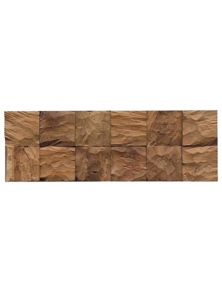 Wandverblender »Teak Diamond«, Cube Natural, unbehandelt