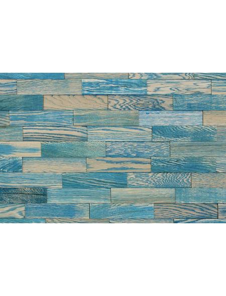 WODEWA Wandverkleidung, braun/blau, Holz, Stärke: 6 mm, mit Echtholzriemchen in 3D-Optik