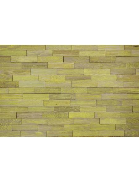 WODEWA Wandverkleidung, braun/gelb, Holz, Stärke: 6 mm, mit Echtholzriemchen in 3D-Optik