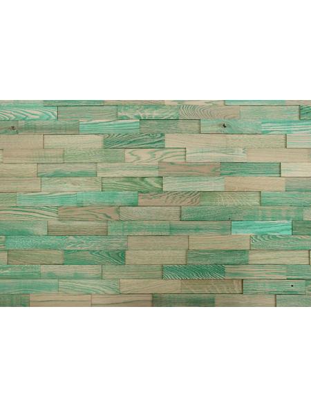 WODEWA Wandverkleidung, braun/grün, Holz, Stärke: 6 mm, mit Echtholzriemchen in 3D-Optik